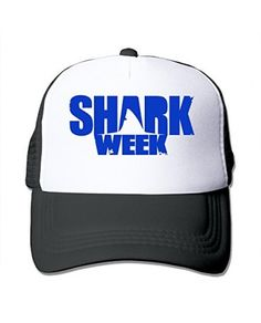 Black HandSon Custom Casual Flat Billed Shark Week Hip Hop Visor Cap Black