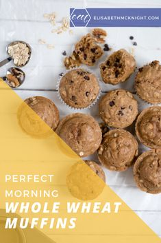 Whole Wheat Chocolate Chip Muffins - Perfect for breakfast on the go! These delicious muffins are kid approved, healthy and delicious! Quick Healthy Snacks, Healthy Muffins, Baby Food Recipes, Snack Recipes, Whole Wheat Muffins, Chocolate Chip Muffins, Breakfast On The Go, Healthy Chocolate, Kids Meals