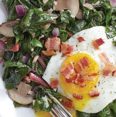Get a head start on the day - have a great breakfast AND fit in a serving of vegetables. Sauteed Chard and Eggs will keep you going all morning long plus there's bacon sprinkled on top!