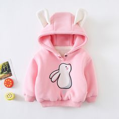 Baby / Toddler Girl Adorable Bunny Decor Solid Fleece-lining Warm Hoodie Newborn Girl Outfits, Kids Outfits Girls, Toddler Girl Outfits, Boy Outfits, Girls Fashion Clothes, Baby Girl Fashion, Toddler Fashion, Kids Fashion, Kids Clothing