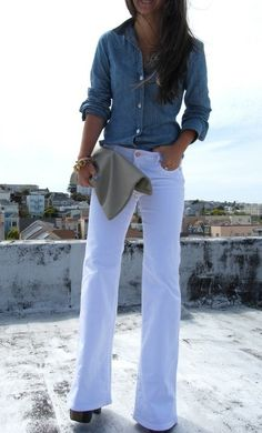 Chambray paired with white.
