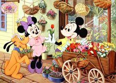 Mickey & Minnie with Pluto