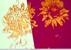 """Warhol's """"Kiku (chrysanthemum)"""" colored silkscreen print single, 1983 — See recent auction results for it on Warren's home page."""