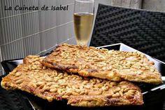 Receta Coca de llardons(chicharrones), para La cuineta de Isabel - Petitchef Chicharrones, Canapes, Gelatin, Nutella, Banana Bread, French Toast, Food And Drink, Snacks, Chocolate