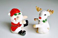 Santa Reindeer Shakers Hugging  Fitz and Floyd by ClassicMemories