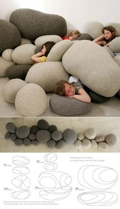 I love the idea of felt pebble furniture so very much! livingstones by Stephanie Marin