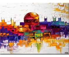 Abstract City Painting Original Modern Palette Knife Contemporary Jerusalem Art On Canvas Colorful by Osnat 40x30.