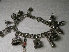 Vintage Sterling Silver European Travel  13 Charm Bracelet  France, Italy - Rare #Unbranded #charmbracelet