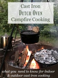 Cast Iron Dutch Oven Outdoor Campfire Cooking is part of Dutch oven camping Learn how to clean and season your cast iron cookware and the best pieces and tips for outdoor campfire cooking with a cas - Camping Desserts, Camping Meals, Camping Recipes, Camping Cooking, Oven Cooking, Camping Hacks, Fire Cooking, Camping Stuff, Grilling Recipes