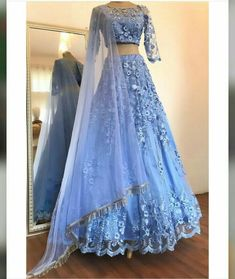 Buy Elegant Blue Two Pieces Lace Appliques Scoop Sleeve Long Cheap Prom Dresses on sale.Shop prom or formal dresses from Promdress. Find all of the latest styles and brands in Junior& prom and formal dresses at SisaStore Indian Bridal Outfits, Indian Designer Outfits, Designer Dresses, Lehenga Choli Designs, Designer Bridal Lehenga, Indian Lehenga, Indian Gowns Dresses, Pakistani Dresses, Lehnga Dress