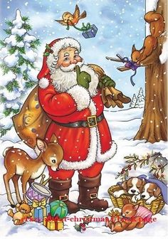 Santa Claus delivering Christmas presents to his forest animal friends Merry Christmas Gif, Christmas Scenery, Christmas Hearts, Christmas Card Crafts, Christmas Drawing, Christmas Paintings, Christmas Animals, Vintage Christmas Cards, Christmas Pictures
