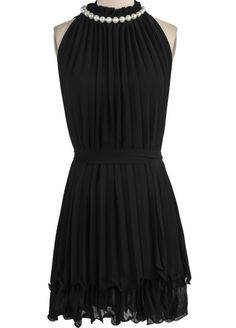 Black Sleeveless Off the Shoulder Pleated Dress EUR€19.37