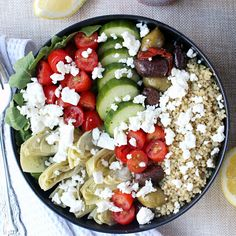 Dinner for Two: Loaded Greek-Style Quinoa Bowls w/ Chunky Feta & Spicy Tzatziki! perfect for #meatlessmonday, these bowls are an easy, healthy, energizing way to start your week - takes just 20 minutes to make.