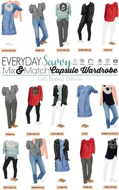 Fun new spring Loft capsule wardrobe with great mix and match outfits. This capsule includes some fun pops of color & stripes and easy slide on sneakers. Fun fashion style collection.