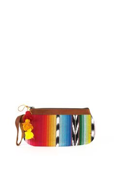Guatemalan Colorful Textile And Leather Pencil Case