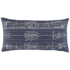 Ship Blueprint Throw Pillow