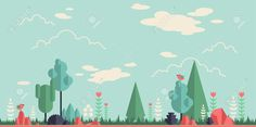 40086874-Summer-forest-flat-background-Simple-and-cute-landscape-for-your-design-Stock-Vector.jpg (1300×649)
