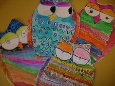 First graders made these adorable pattern owls in two 55 minute art classes. We read The Little White Owl and Owl Moon for inspiration and spent the first day thinking of line designs and sketching. The second day, we used oil pastel and watercolor paints to finish.