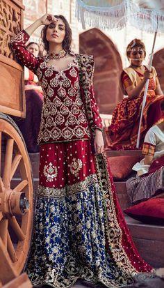 Best Reception Wear - Deep Red Short Shirt Red n Blue Gharara Pakistani Bridal Couture, Pakistani Fashion Party Wear, Pakistani Wedding Outfits, Indian Bridal Outfits, Pakistani Dress Design, Indian Designer Outfits, Pakistani Gharara, Walima, Asian Bridal Dresses