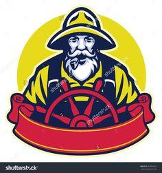 Old Man Fisherman Steering The Boat Stock Vector Illustration 363850445…