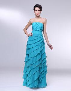Sem+magas+Em+cascata+do+plissado+Fino+vestido+Bainha+Corpete+plissado+Vestido+de+noite