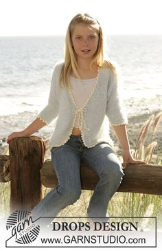"""Drops cardigan knitted in stocking sts with """"Symphony"""" and a crochet edge in """"Muskat"""". Size 5-14 yrs."""