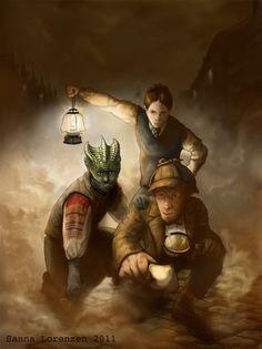 11th Doctor, Madame Vastra and Jenny Flint   Art by Sanna Lorenzen