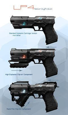 futuristic and sci-fi style guns that I think would appeal to the age group of my target audience. Sci Fi Weapons, Weapon Concept Art, Fantasy Weapons, Weapons Guns, Guns And Ammo, Sci Fi Fantasy, Sci Fi Armor, Military Weapons, Cyberpunk