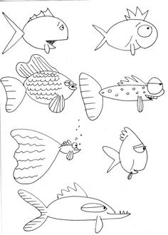 Cartoon Drawings How to draw fish, mostly for kids. - Here are some more fishes I drew to give you a nudge at trying to draw some of your own…have fun! Fish Drawings, Doodle Drawings, Cartoon Drawings, Animal Drawings, Fish Cartoon Drawing, Fish Drawing For Kids, Cartoon Painting, Doodle Art, Documents D'art