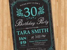 Tiffany Blue 30th Birthday Invitation for Woman. Adult birthday party. 30th 40th 50th 60th any age. Any custom color. Printable. on Etsy, $10.00