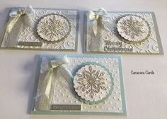 Handmade Christmas Cards 2016 Bristol snowflake, dots and swirls embossing folders and circular scalloped die cuts.