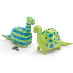Set of 2 Large Ceramic Dinosaur Piggy Banks Two Designs