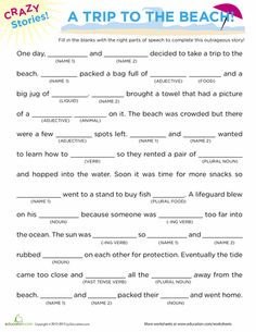 Worksheets: Fill in the Blanks Story: Beach