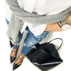 Denim, blouse, grey