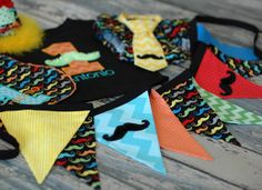 Mustache Bash Party Pack - First Birthday Smash Cake, Photo Prop - Stache Diaper Cover, Hat, Tie, TShirt, Bunting Banner, Bib on Etsy, $133.00