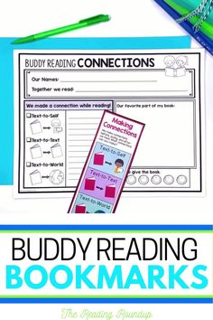 Is your Reading Buddies Program as effective as you'd like for it to be? These buddy reading bookmarks are guaranteed to lead to more student engagement. Elementary students can practice decoding unknown words, answering comprehension questions, making connections, and retelling stories with these bookmarks. Reading response sheets are also available for additional accountability. A must-have for your reading workshop! #thereadingroundup #daily5 #readingbuddies Summarizing Activities, Teaching Reading Strategies, Comprehension Strategies, Reading Resources, Partner Reading, Small Group Reading, Student Reading, Text To World, Reading Response Journals