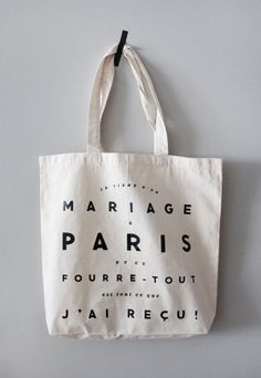 """It says """"I went all the way to Paris for a wedding & all I got was this tote bag"""" Hahaha!!! :: Hello   The Indigo Bunting: Paris Wedding: Welcome Bag & Letter"""