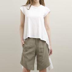 HACHE(アッシュ) Tシャツ× シャツ 切替 アシンメトリー カットソー(13SS): 13SSアイテム:セレクトショップ・マナマナ