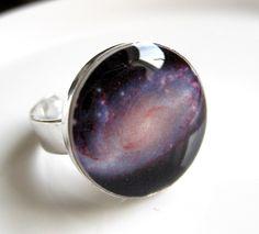 Spiral Galaxy Resin Ring.