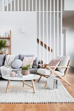 If you want a Scandinavian living room design, there are some things that you should consider and implement for this interior style. Wood as a material has an important role as well as light colors, because they give the living… Continue Reading → Living Room Interior, Home Living Room, Home Interior Design, Living Room Designs, Living Room Decor, Scandinavian Interior Living Room, Staircase In Living Room, Living Room With Grey Sofa, Neutral Living Rooms