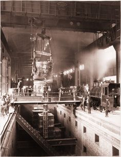 Homestead Steel Works, foundry ladle prepares to pour molten iron into ingot molds (circa 1893) (Carnegie Museum of Art)