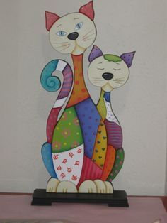 Gatos country - Her Crochet Applique Patterns, Applique Quilts, Quilt Patterns, Cat Crafts, Sewing Crafts, Sewing Projects, Arte Country, Cat Quilt, Animal Quilts