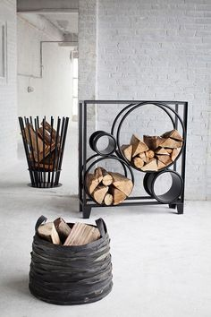 BOIS DE ROND Metal Log holder by @serax  #design Luc Vincent