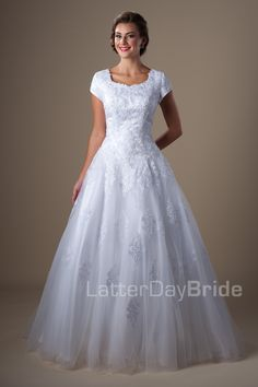 645.00 Modest Wedding Dresses : Winifredhttp://www.latterdaybride.com/temple-dresses