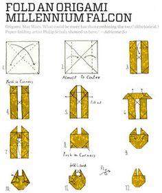Fold an origami Millennium Falcon