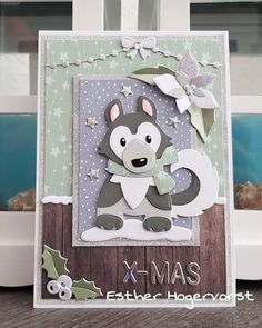 Husky, Dog Cards, Marianne Design, Making Ideas, Christmas Cards, Kittens, Wolf, Card Making, Scrap
