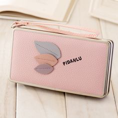 Brand Candy Colors Women Long Wallet Leaf Decoration PU Leather ID Card Holder Money Case Phone Clutch Bag Kawaii Coin Pockets