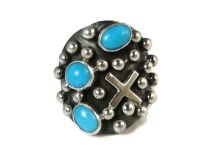 Sterling Silver Sleeping Beauty Turquoise Cross Ring Size 7 By Ronnie Willie, Navajo from Southwest Silver Gallery  #Turquoise http://www.southwestsilvergallery.com/AWSCategories/p/427/Turquoise-Rings