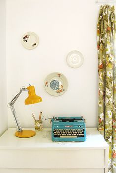 office nook of artist Dottie Angel via Close Close Brubaker / stephmodo Real Life Home tour Dottie Angel, Office Nook, Study Office, Vintage Typewriters, Beautiful Wall, Plates On Wall, Floating Nightstand, Interior Decorating, Sweet Home