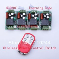 4 Receivers+1 Transmitter Duplicating Copied Cloning Remote Control 220V 1CH 10A RF Wireless Remote Control Power Switch System